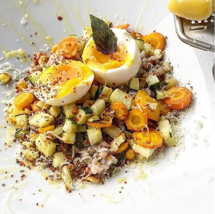 гречка с овощами и сыром